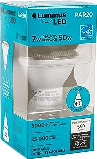 Luminus PLYC3225 Par20 Flood - 7W (50W) 550 Lumens Daylight 5000K Dimmable Led Light Bulb - 6 Pack,