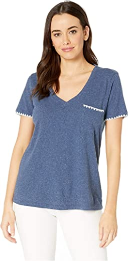 V-Neck Tee with Embroidered Edge in Heathered Linen Cotton Jersey