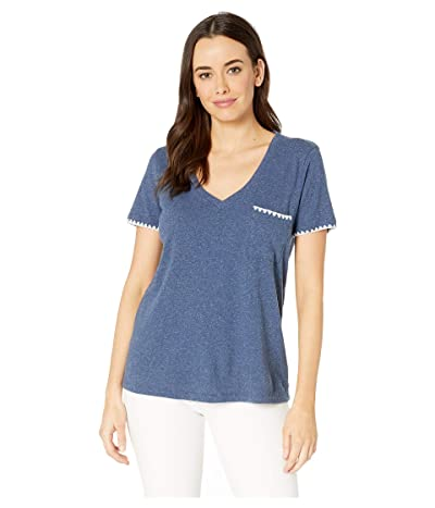 Mod-o-doc V-Neck Tee with Embroidered Edge in Heathered Linen Cotton Jersey (Navy) Women