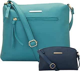 LAPIS O LUPO Combo Pierre Women Sling Bag and Sling Bag (Tourquise,Blue)
