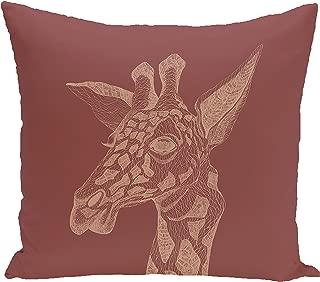 E by design PAN166OR6-20 PAN166OR6-20 la jirafa Animal Print Pillow, Mahogany,Rust