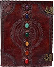 TUZECH Seven Chakra Medieval Stone Embossed Handmade Jumbo Leather Journal Book of Shadows Notebook Office Diary College P...