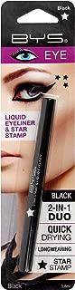 BYS Matte 2in1 Duo Liquid Eyeliner Ultrafine Tip Pen with Star Stamp Black