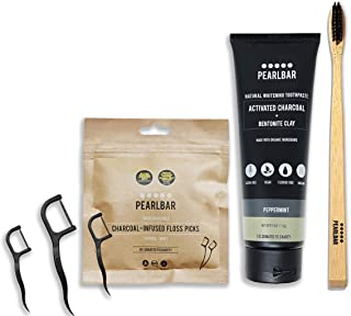 PearlBar Activated Charcoal Pearly Whites Bundle with Charcoal Toothpaste, Charcoal Infused Flossers, and Coconut Charcoal Toothbrush