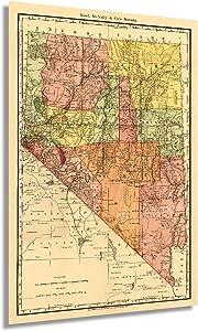 Historix Vintage 1893 Nevada State Map - 24x36 Inch Vintage Map of Nevada Wall Art - Vintage Nevada Railroad Map - Nevada Wall Decor - Nevada Home Decor - Old Nevada Map (2 Sizes)