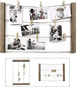 10 o'clock Wood Picture Photo Frame for Hanging Wall Decor, Collage Artworks Prints Multi Pictures Organizer , DIY Wood Hanging Display Frames, inch 24