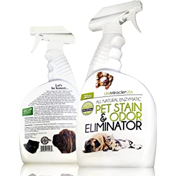 Life Miracle USA Natural Enzyme Cleaner - Safe, Non-Toxic Pet & Laundry Stain Remover, Odor Eliminator Neutralizer | Upholstery Carpet Cleaning & Rug Stain Cleaner | Dog & Cat Urine Smell. 32oz Spray
