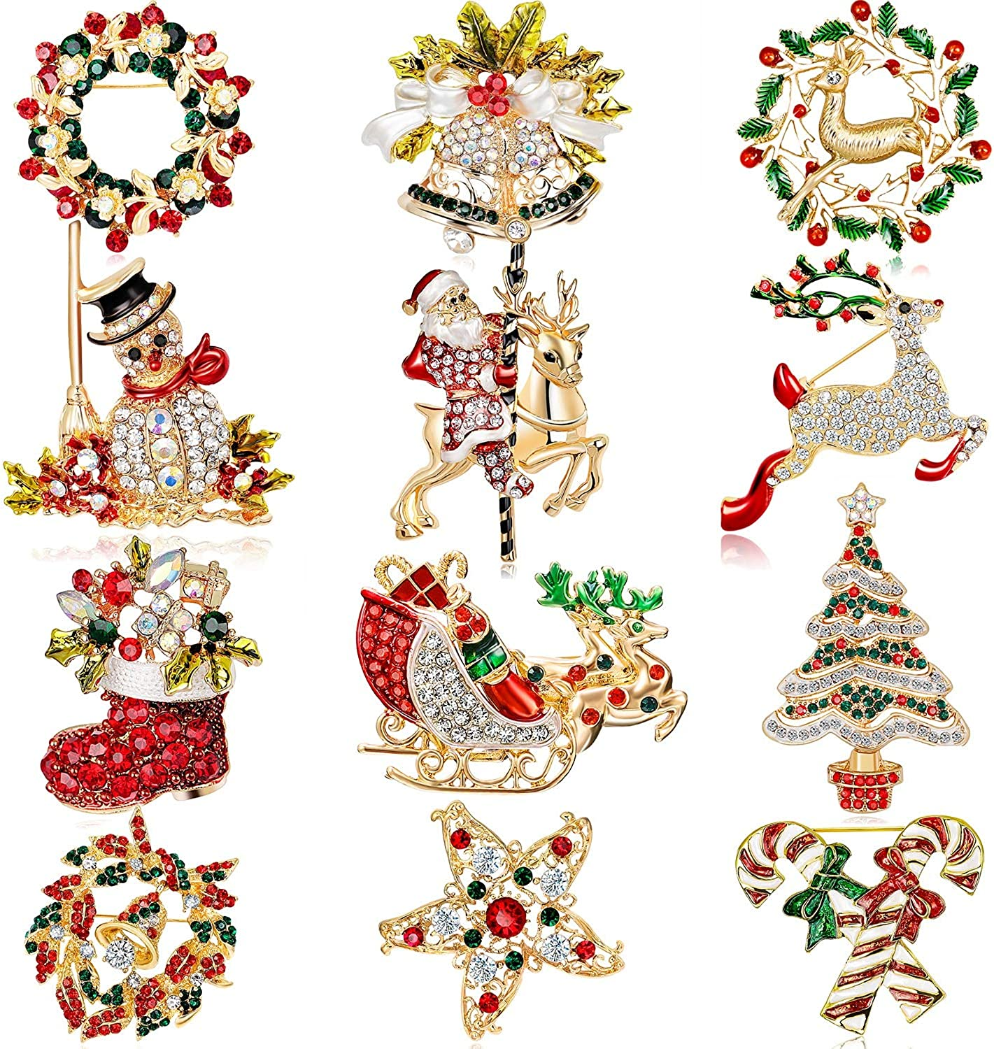 Hicarer 12 Pieces Enamel Christmas Brooch Pins Jewelry for Woman Kids Holiday Xmas Gift