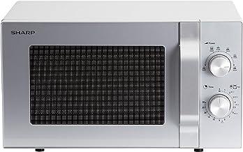 Sharp R204S - Microondas solo, 20 L, 800 W, 6 niveles de potencia, temporizador de 30 minutos a 00 segundos, descongelación controlada por peso, plato giratorio de cristal (24,5 cm), color plateado