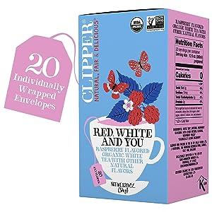 Clipper Organic White Tea & Raspberry, Red, White & You - USDA Organic, Non-GMO, Fair Trade, Sustainable Caffeinated Tea, 1 Pack, 20 Unbleached Tea Bags