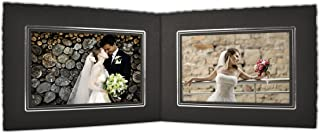 Golden State Art, Cardboard Photo Folder for Double 6x4 Photo (Pack of 50) PF041 Black with Silver Lining (Black)