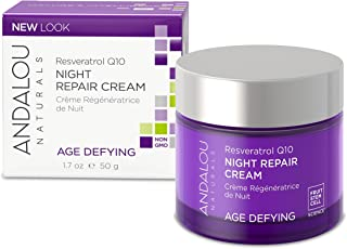 Andalou Naturals Resveratrol Q10 Night Repair Cream, 1.7 oz, For Dry Skin, Fine Lines & Wrinkles, For Softer, Smoother, Yo...