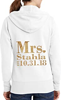 Classy Bride Personalized Mrs. Glitter Bride Hoodie