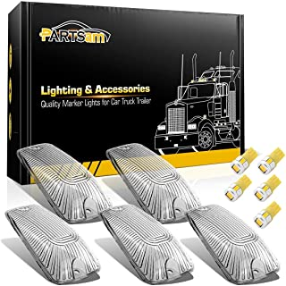 Partsam 5X Clear Cab Marker Light Cover + Amber 6-5730-SMD LED Bulbs Compatible with Chevy/GMC C1500 C2500 C3500 K1500 K2500 K3500 1988-2002 Kodiak Topkick