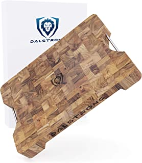 DALSTRONG Lionswood エンドグレインチークカッティングボード Lサイズ スチールキャリーハンドル付き