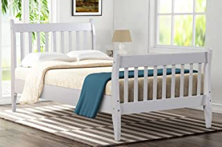 LZ LEISURE ZONE Bed Frame Platform Mattress Foundation with Solid Wood Slat Support (White, Twin)