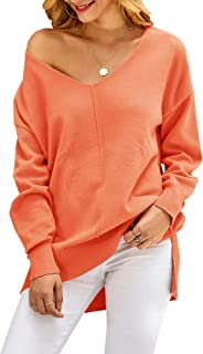 Saodimallsu Womens Off The Shoulder V Neck Pullover Sweaters Oversized Slouchy Batwing Sleeve Knit Jumper Tunic