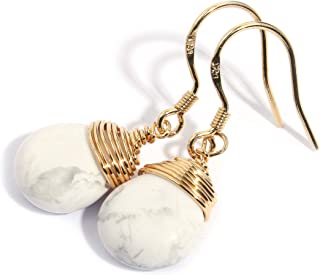Scutum Craft Genuine Natural Gemstone Dangle Drop Earrings with 14K Yellow Gold Plated Wire Wrap and 925 Sterling Silver Hook Jewelry for Women