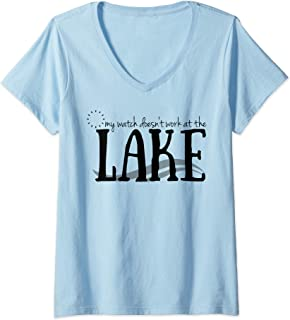 Womens Watch Doesn't Work At The Lake Vacation Summer Relax V-Neck T-Shirt