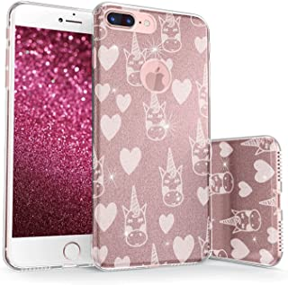 真正的彩色手机壳适用于 iPhone 8 & Plus Sparkase Collection v2 For iPhone 8 Plus Unicorn & Hearts - White on Rose Gold