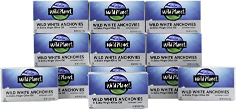 Wild Planet Wild White Anchovies in Extra Virgin Olive Oil, 3rd Party Mercury Tested, 4.4 Ounce, Pack of 12