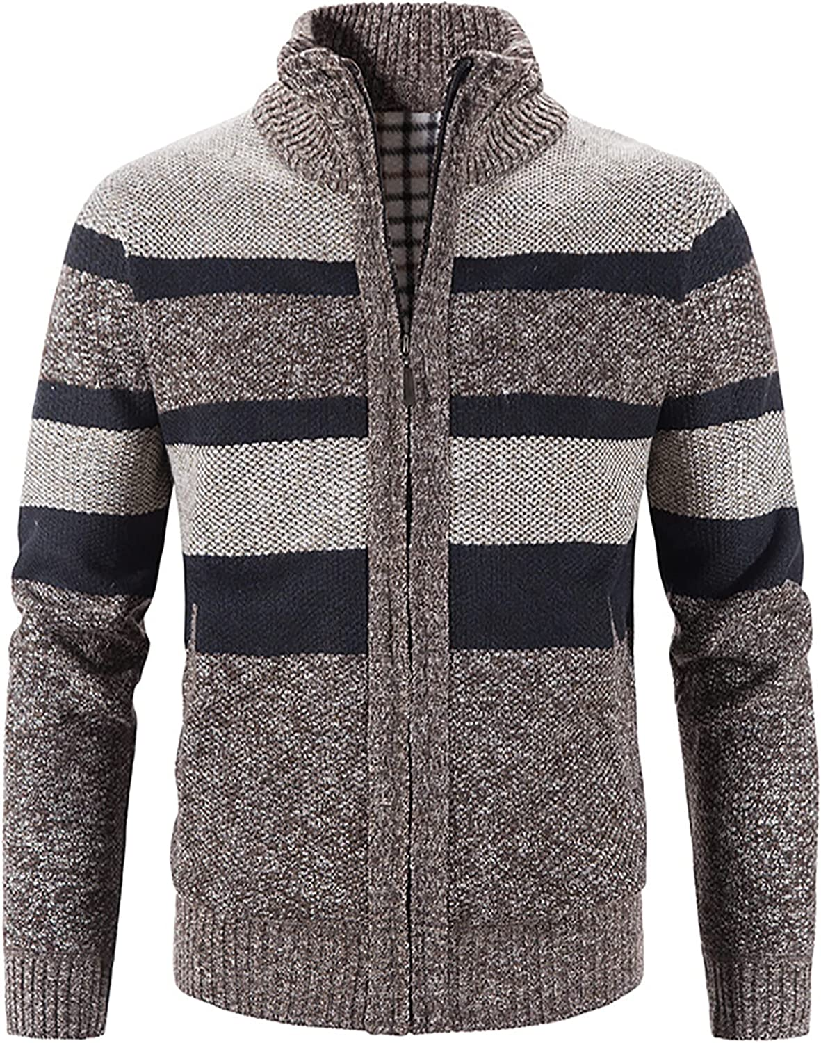 Men 's Knitted Sweater Cardigan Casual Solid Long Sleeve Zipped Coat Winter Fashion Slim Jacket Outwear