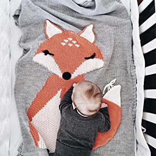 Makaor Kids Fox Knitting Blanket Bedding Quilt Play Blanket Animal Newborn Baby Throw Blanket Crib Wrap Blanket for 0-6 Age Baby (Size: 75cmx 105cm / 29.5