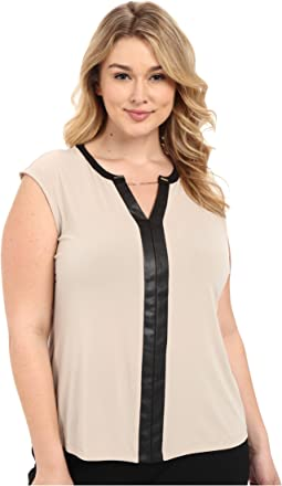 Calvin Klein Plus - Plus Size Sleeveless V-Neck Chain Top