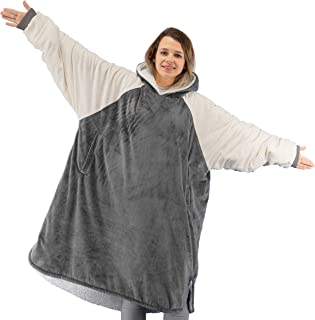 Winthome Lengthen Oversized Blanket Hoodie with Sherpa Lining Soft & Warm for Men Women Adults Teens