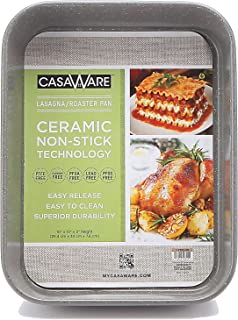 casaWare Ceramic Coated NonStick Lasagna/Roaster Pan 13 x 10 x 3-Inch (Silver Granite)
