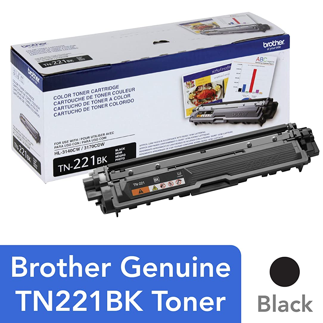 Brother Genuine Standard Yield Toner Cartridge, TN221BK, Replacement Black Toner, Page Yield Up To 2,500 Pages, Amazon Dash Replenishment Cartridge, TN221 abe90752954