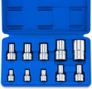 "Neiko 02473A External Star Torx Plus Socket Set, EP6 to EP24 | 10-Piece Set, Cr-V Steel, 1/4"", 3/8"" and 1/2-Inch Drive"