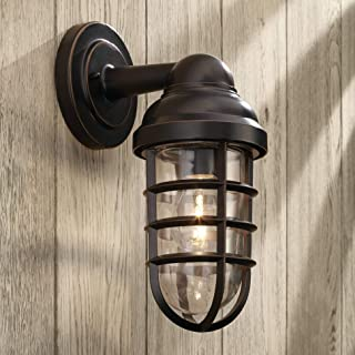Marlowe Industrial Farmhouse Outdoor Wall Light Fixture Bronze 13 1/4