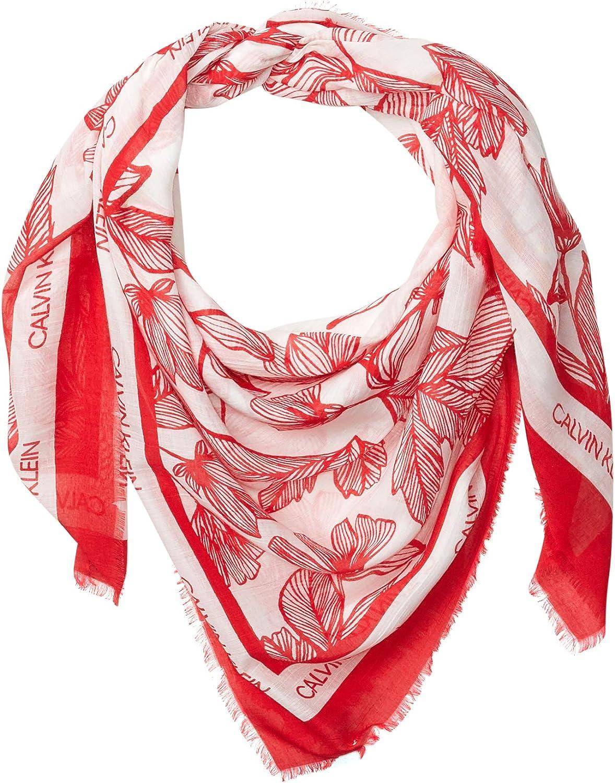 Calvin Klein womens Calvin Klein Toile Print Square Modal and Silk Scarf