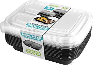 20 PIECE MEAL PREP CONTAINER KIT - 3 SECTIONS - BLACK