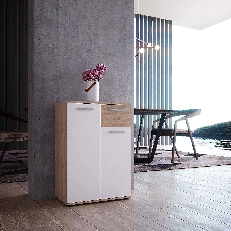 Newroom Kommode Sideboard Natur Highboard Schrank Anrichte Schubladenkommode Mehrzweckschrank mit 1er Schublade und mit 2 Türen II 60 x 85 x 35 cm II