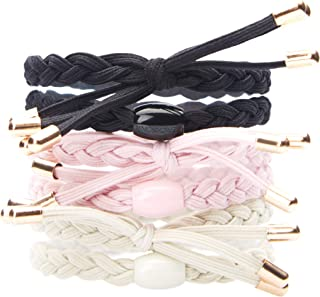 L. Erickson Braided Bow Pony 6 Pack, Light Pink/Black/Ivory, Set of 6 - Extremely Comfortable Ponytail Holders