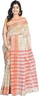 Raj Sarees Women's Cotton Tant Saree with Blouse piece (Off White)