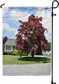 GROOTEY Fall Garden Flag,Home Yard Decorative 12X18 Inches Red Japanese Maple Tree Front Yard Lawn Ranch Style Double Sided Seasonal Garden Flags Halloween Thanksgiving Garden Flag,Blue Gray
