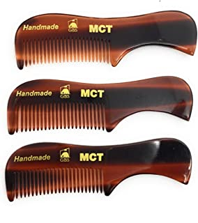GBS Beard Mustache Comb 3 pk - Extra Small. Unbreakable Fine Toothed Beard and Moustache Combs Pocket Size for Facial Hair Grooming. Hand-Made Cellulose Acetate, Saw-Cut Hand Polished 70mm