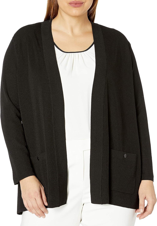 Anne Klein Women's Plus Size Solid Two Pocket Malibu Cardigan