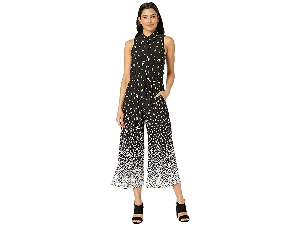 London Times Sleeveless Shirt Collar Jumpsuit (Black/Soft White) Women