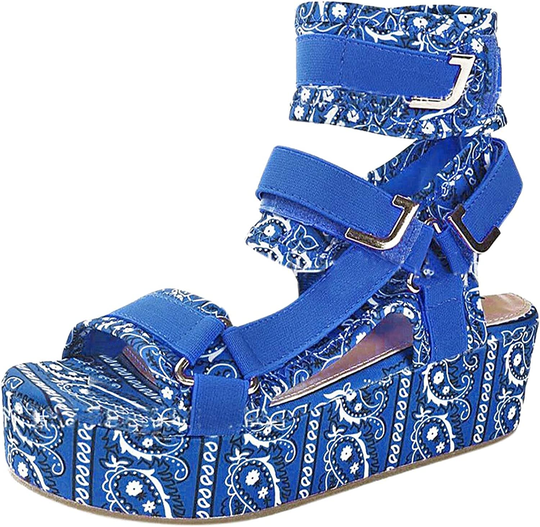 online shopping Caopixxzful Women's latest Wedge Sandals Hook Toe Velcro Loop Open and