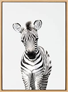 Kate and Laurel Sylvie Baby Zebra Animal Print Portrait Framed Canvas Wall Art by Amy Peterson, 23x33 Natural