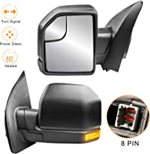 MOSTPLUS 8 PIN Power Heated Towing Mirrors for Ford F150 2015 2016 2017 w/Turn Signal (Left+Right Side Mirror)