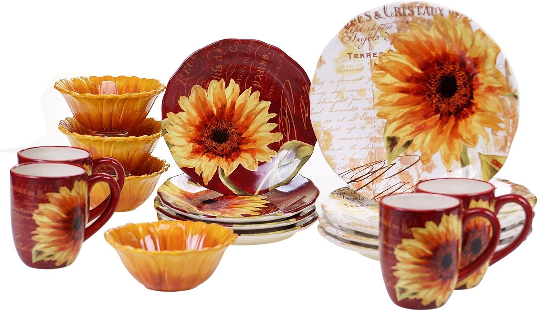 Certified International 89095 Paris Sunflower Ceramic Dinnerwae, Mulitcolord