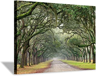 Green Oak Trees Art Painting: Landscape Artwork Forest Picture Print on Canvas Wall Art for Living Rooms (36