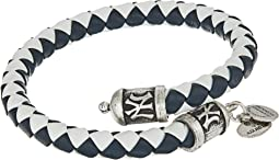 MLB New York Yankees Braided Leather Wrap Bracelet