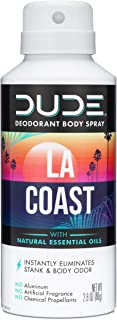 Dude Products Deodorant Body Spray, Multipurpose Usage with Natural Essential Oils, Refreshing LA Coast Scent, 2.8 oz
