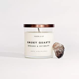 Moon & Ivy Crystal Soy Candle Smoky Quartz Crystal Inside Natural Sea Salt Fragrance Best Seller (Grounding & Detoxify) 8.5 oz